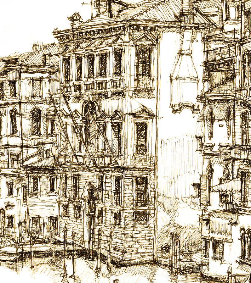 Venice Drawing - Venice Details In Sepia  by Adendorff Design