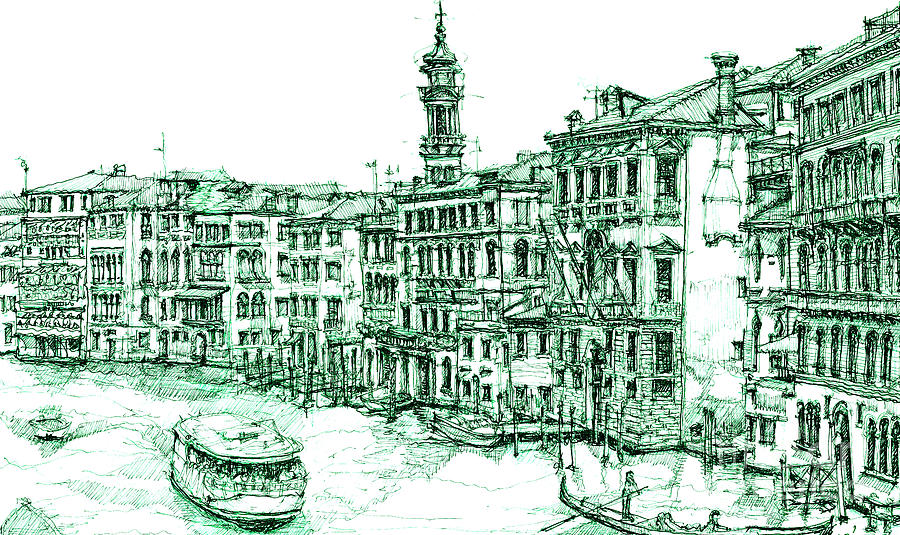 Venice Drawing In Green By Adendorff Design