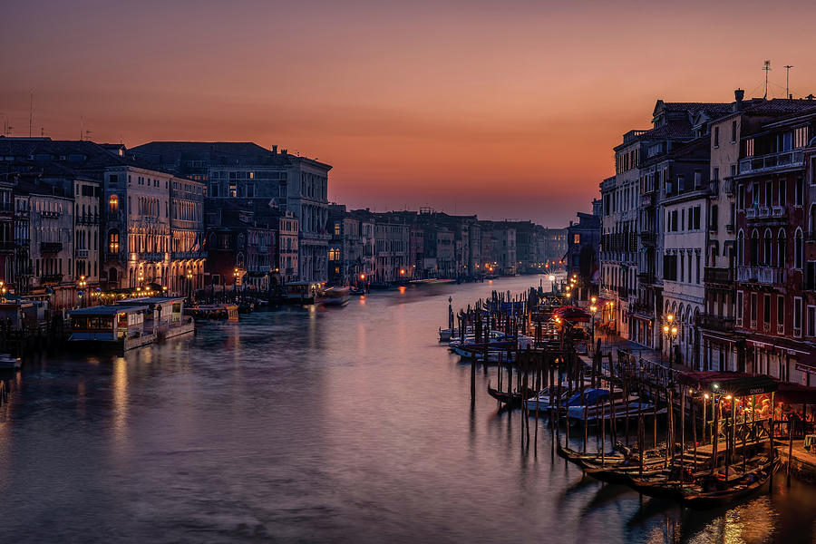 Architecture Photograph - Venice Grand Canal At Sunset by Karen Deakin