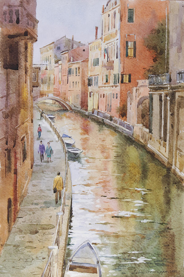 Landscape Painting - Venice In October by Andrii Gerasymiuk