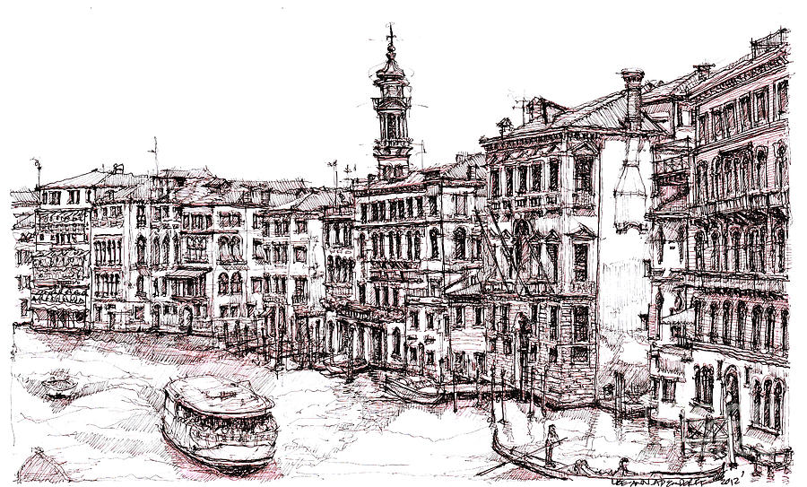 Venice Drawing - Venice In Pen And Ink by Adendorff Design