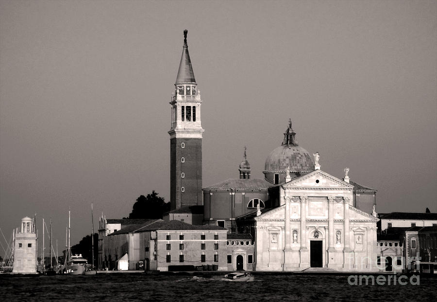 Venice Italy Painting - Venice Italy - San Giorgio Maggiore Island In Sepia Tone by Gregory Dyer