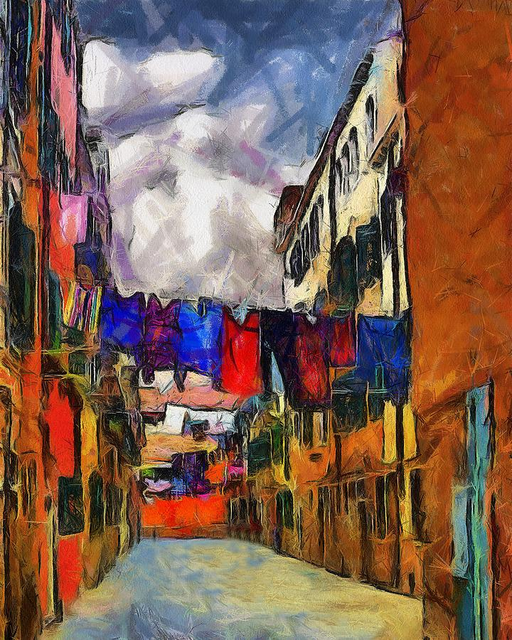 Venice Digital Art - Venice Laundry 2 by Cary Shapiro