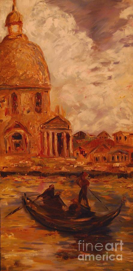 Boats Painting - Venice Morning by Nancy Bradley