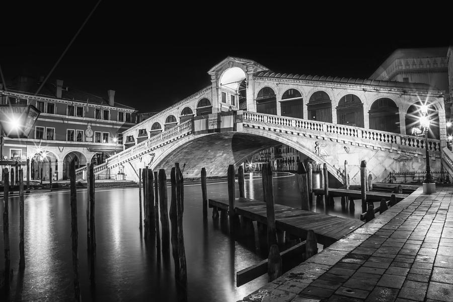 Ancient photograph venice rialto bridge at night black and white by melanie viola