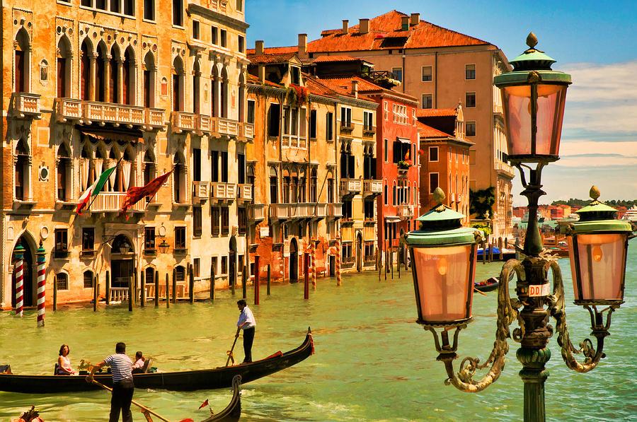 Venice Digital Art - Venice Street Lamp by Mick Burkey