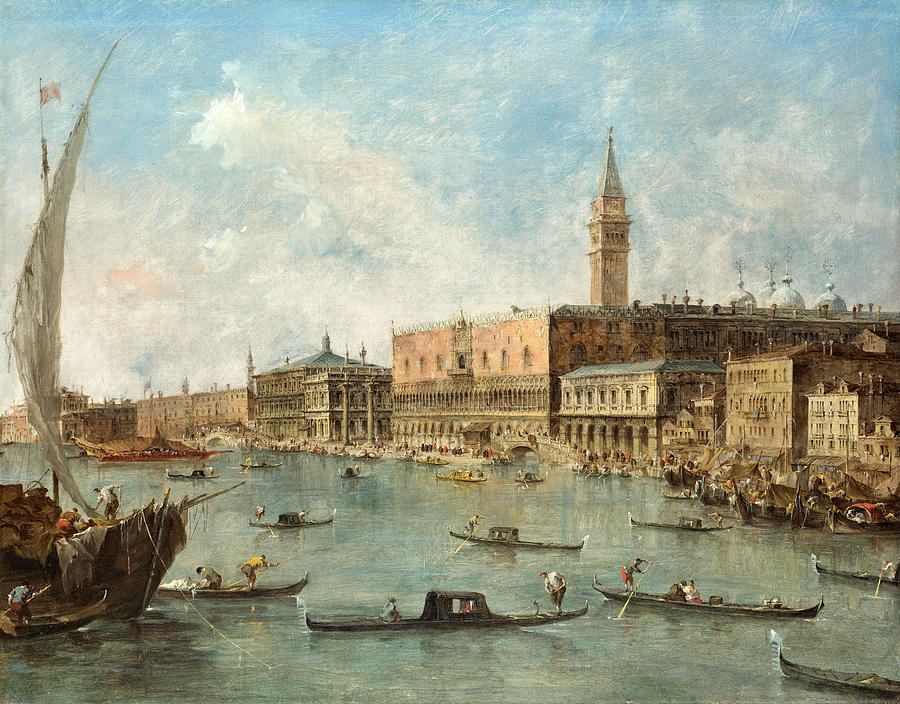 Francesco Guardi Painting - Venice - The Doges Palace and the Molo by Francesco Guardi