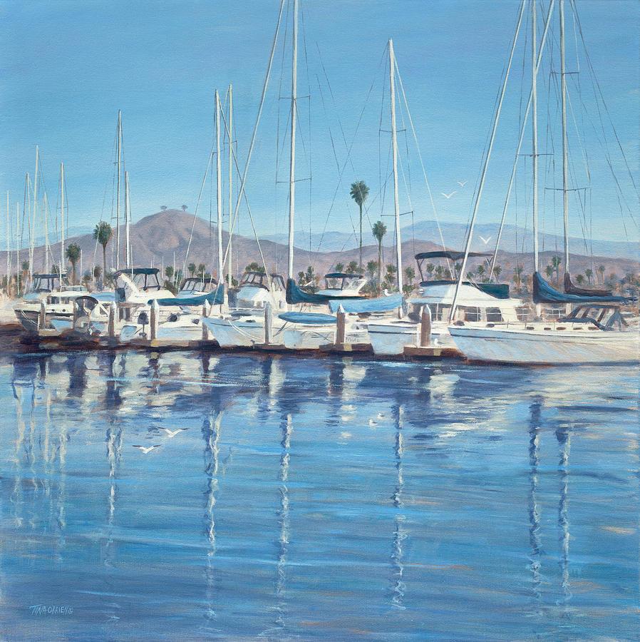 Ventura Harbor Painting - Ventura Harbor Morning Light by Tina Obrien
