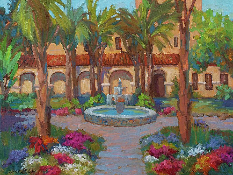 Spanish Painting - Ventura Mission by Diane McClary