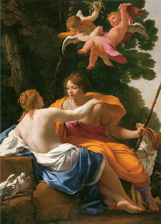 Venus And Adonis Painting by Simon Vouet