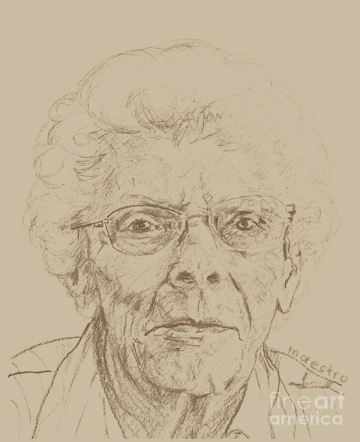 Elderly Drawing - Vera by PainterArtist FIN