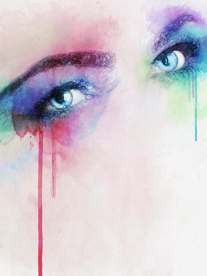 Eyes Drawing - Vera by Taylan Apukovska