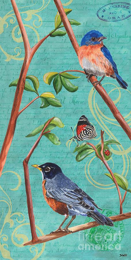 Bird Painting - Verdigris Songbirds 1 by Debbie DeWitt