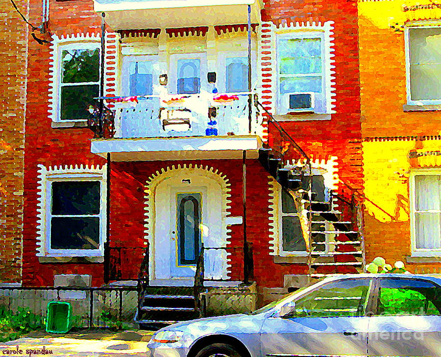 Montreal Painting - Verdun City Street Triplex Apartment Outdoor Winding Stairs Montreal Scenes Primary Colors C Spandau by Carole Spandau