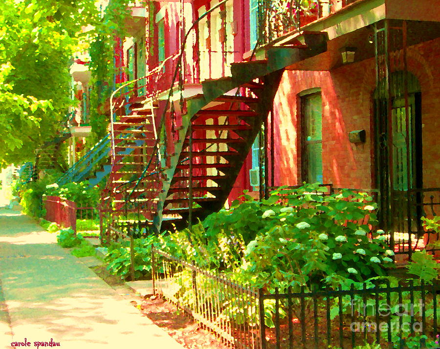 Montreal Painting - Verdun Stairs Winding Staircases And Fenced Flower Garden Montreal Summer Scene Carole Spandau by Carole Spandau