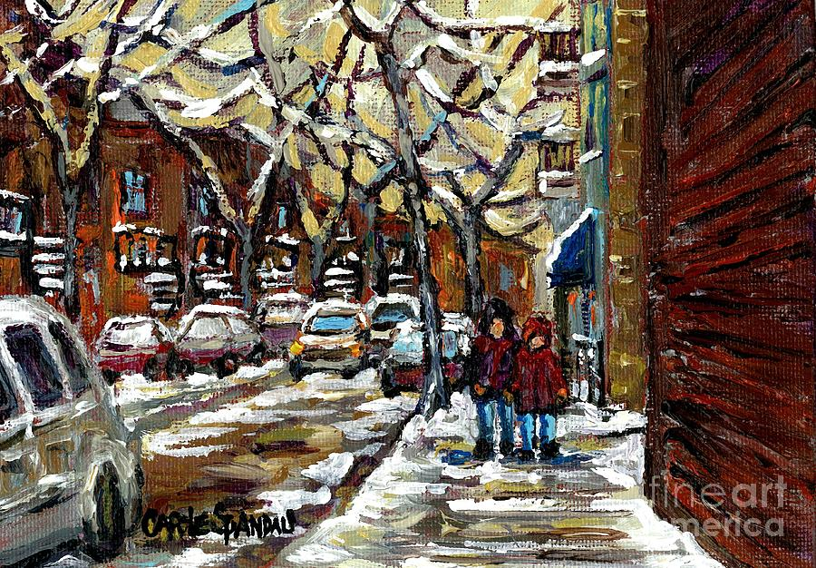 Verdun Winter Row Houses In January Montreal Paintings Time For A