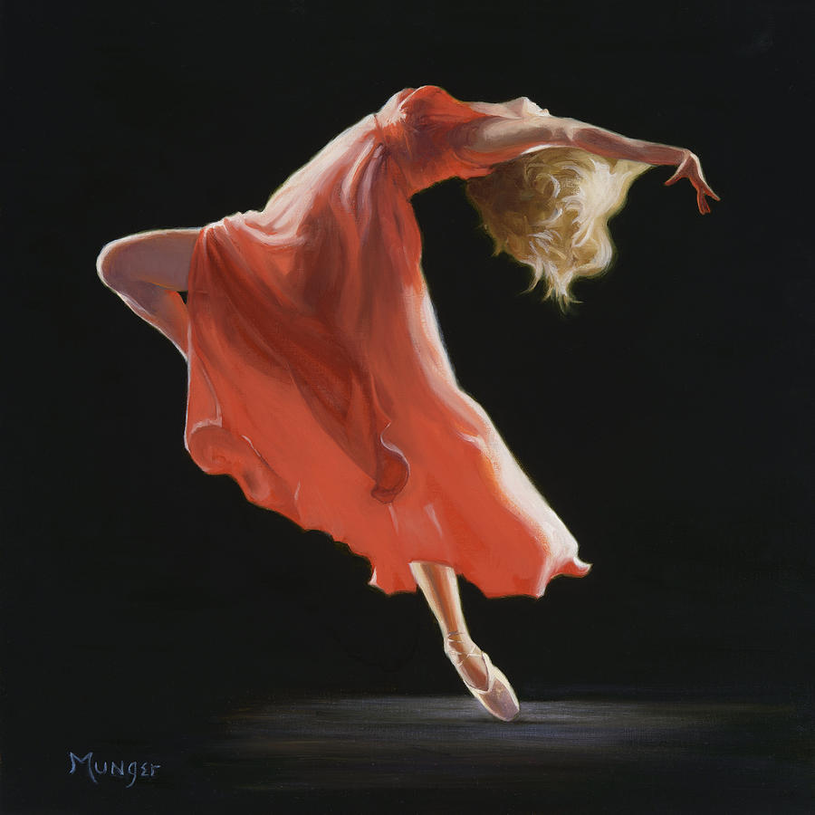 Ballet Painting - Vermilion by Roseann Munger