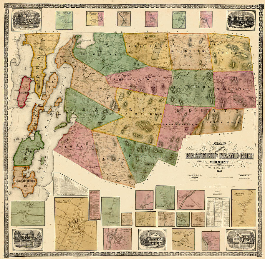 Vermont, 1857, Franklin, Grand Isle Counties Wall Map