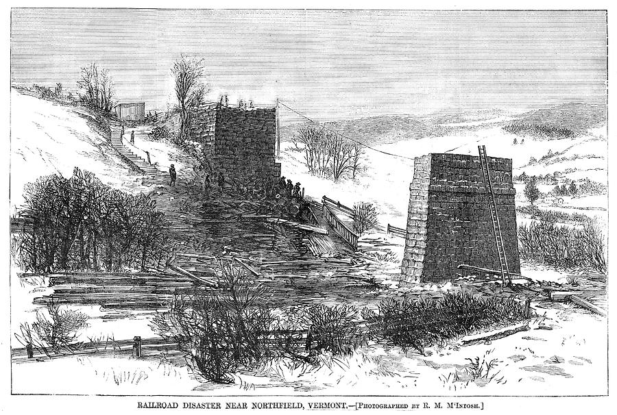 1868 Painting - Vermont Bridge Collapse by Granger
