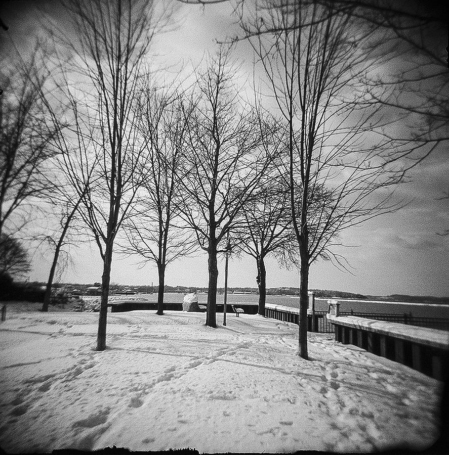 Vermont lake champlain burlington spring snow black and white