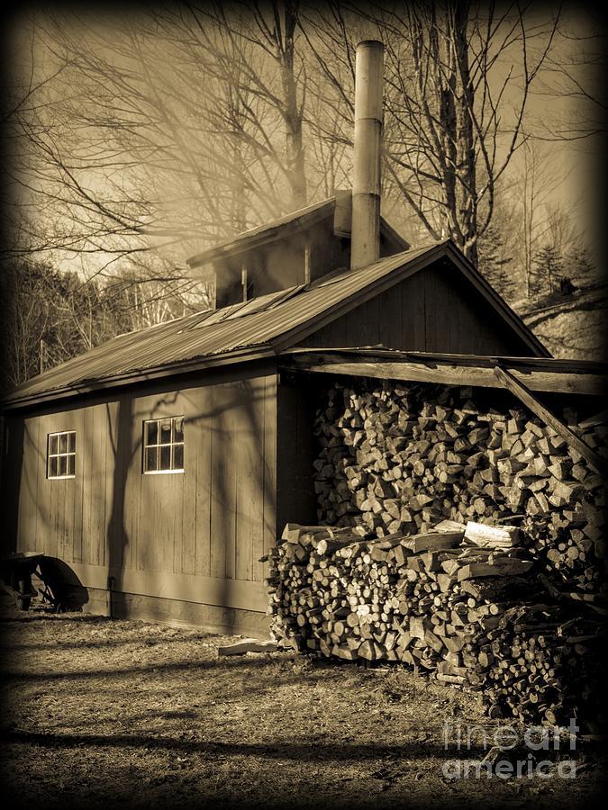 Maple Photograph - Vermont Maple Sugar Shack Circa 1954 by Edward Fielding
