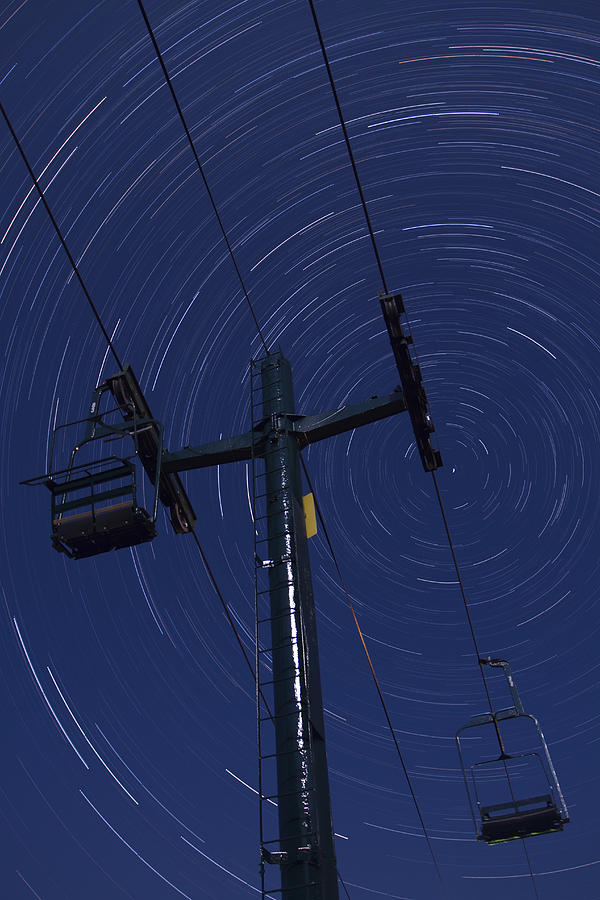 Vermont Photograph - Vermont Night Sky Skiing Star Trails by Andy Gimino