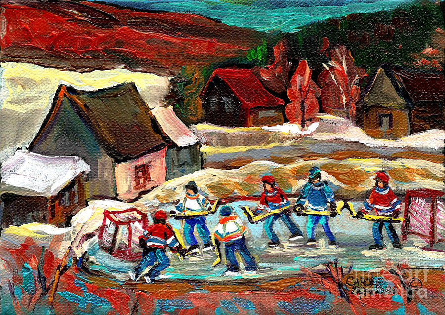Vermont Painting - Vermont Pond Hockey Scene by Carole Spandau