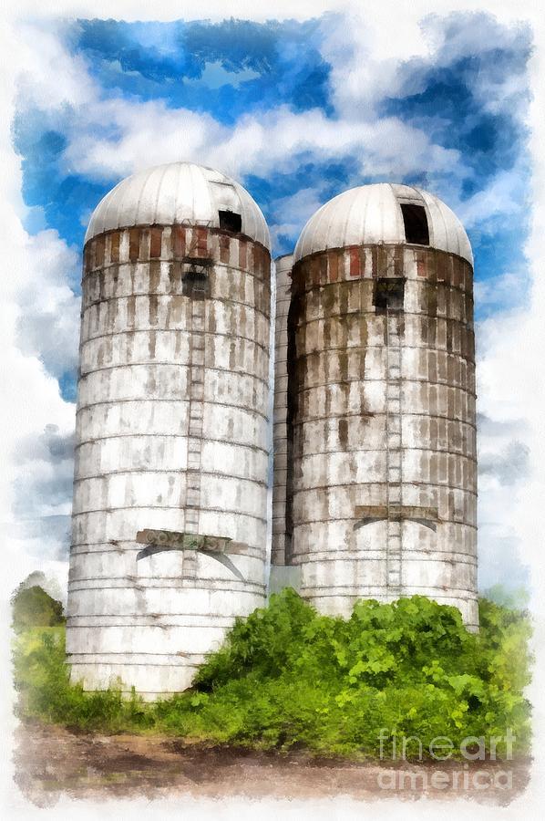Farm Photograph - Vermont Silos by Edward Fielding