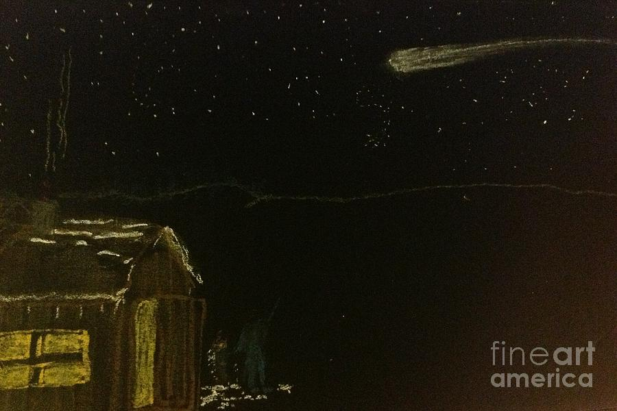 Asteroid Painting - Vermont sugarhouse and Comet. by Willard Hashimoto