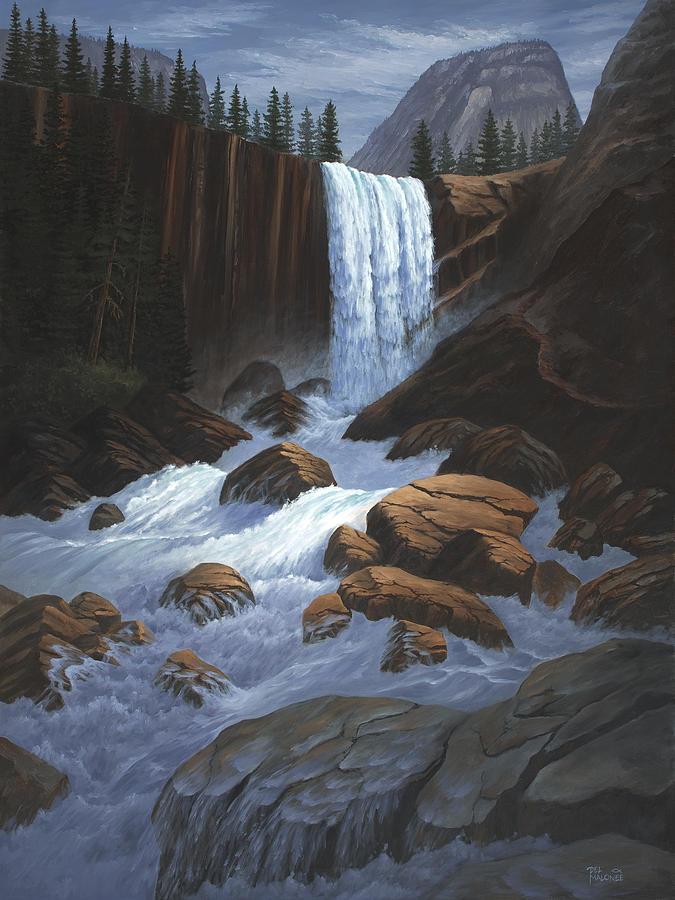 Vernal Falls Yosemite  by Del Malonee