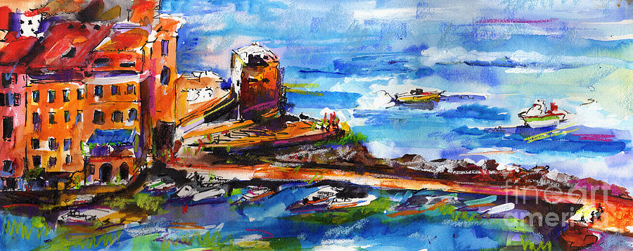 Vernazza Harbor Travel Italy Painting by Ginette Callaway