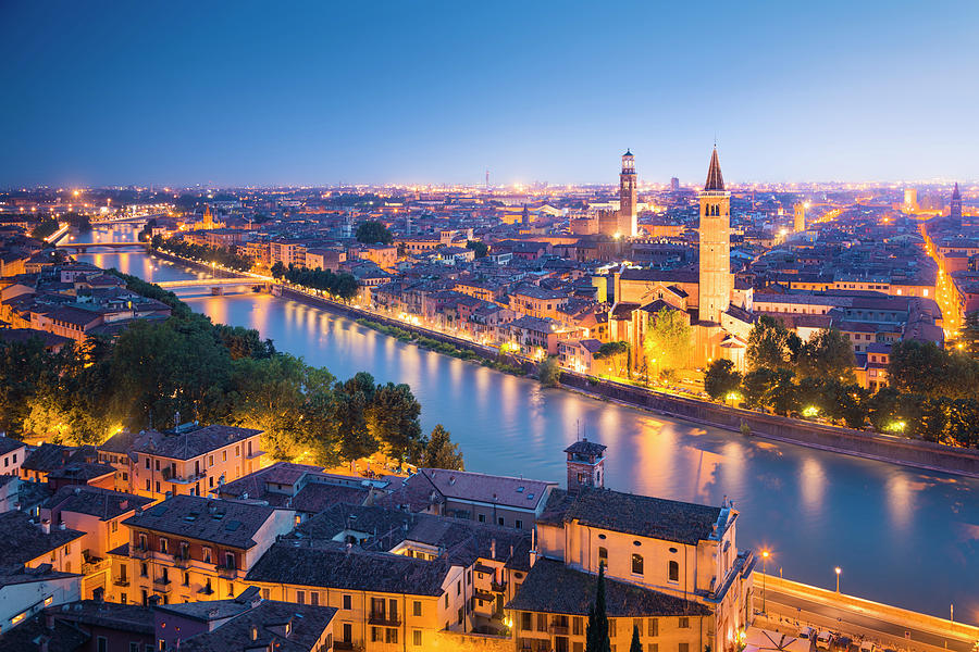 Verona At Night Photograph by Spooh