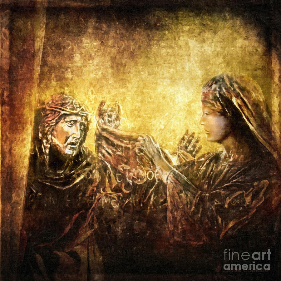 Jesus Digital Art - Veronica Wipes His Face Via Dolorosa 6 by Lianne Schneider
