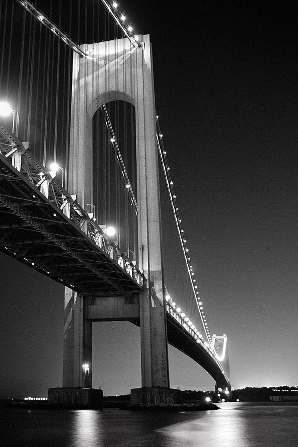Verrazano Bridge At Night - Black And White Photograph by ...