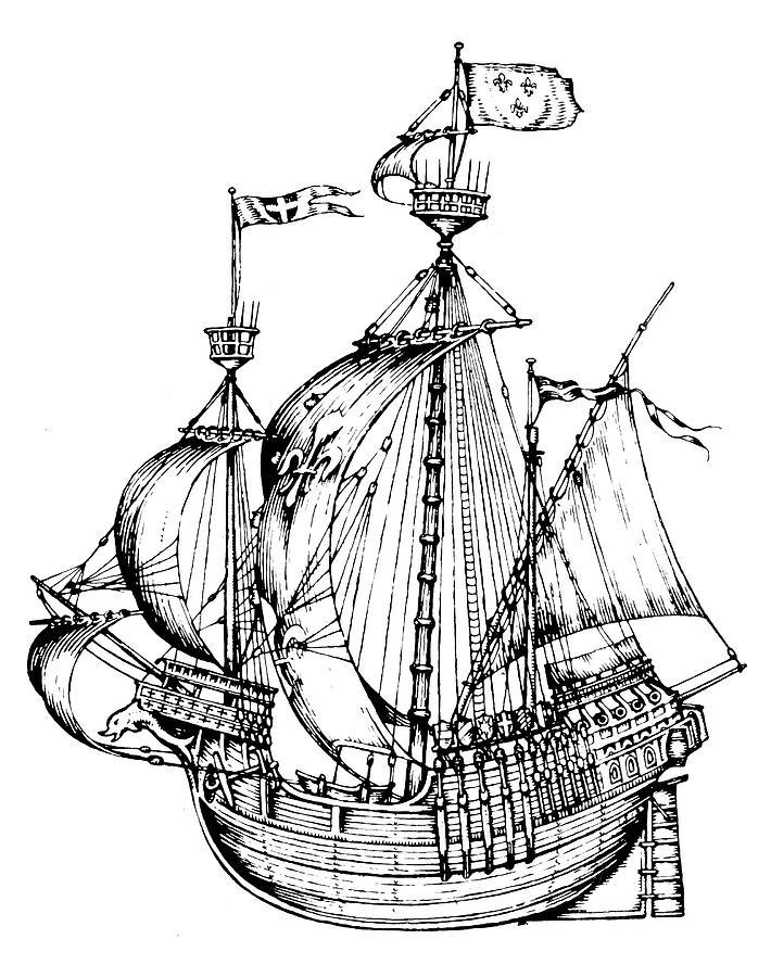 16th Century Drawing - Verrazzanos Ship by Granger