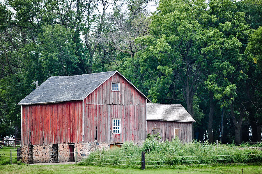 Vertical Sided Wood Barn With Stone Foundation Photograph