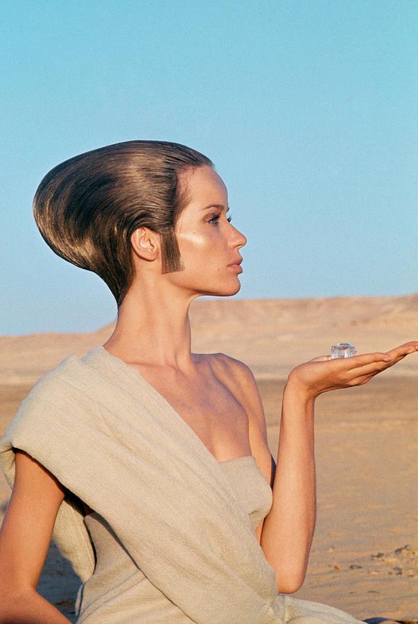 Veruschka Von Lehndorff Sitting In A Desert Photograph by Franco Rubartelli