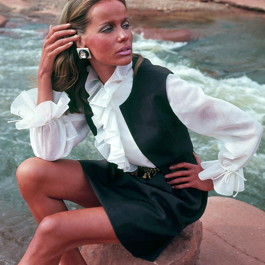 Veruschka Von Lehndorff Wearing Ruffled Blouse Photograph by Franco Rubartelli