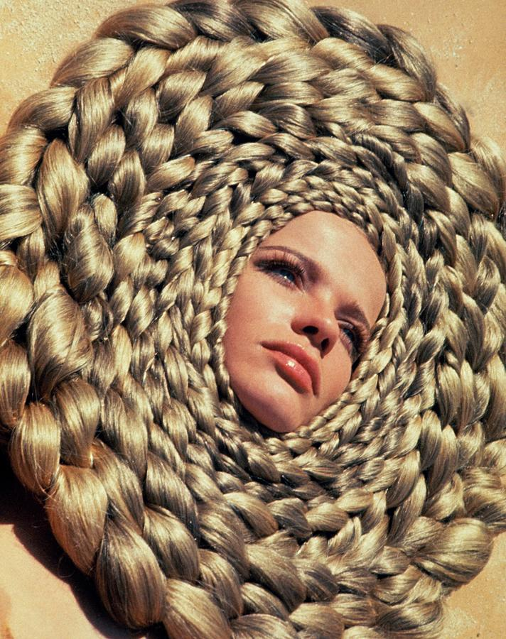 Fashion Photograph - Veruschka Von Lehndorffs Head Surrounded by Franco Rubartelli