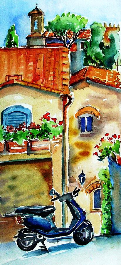 Tuscany Painting - Vespa In Tuscany  by Trudi Doyle