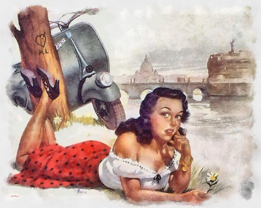Vespa Pin Up girl 1950s Painting by Patrick OHare