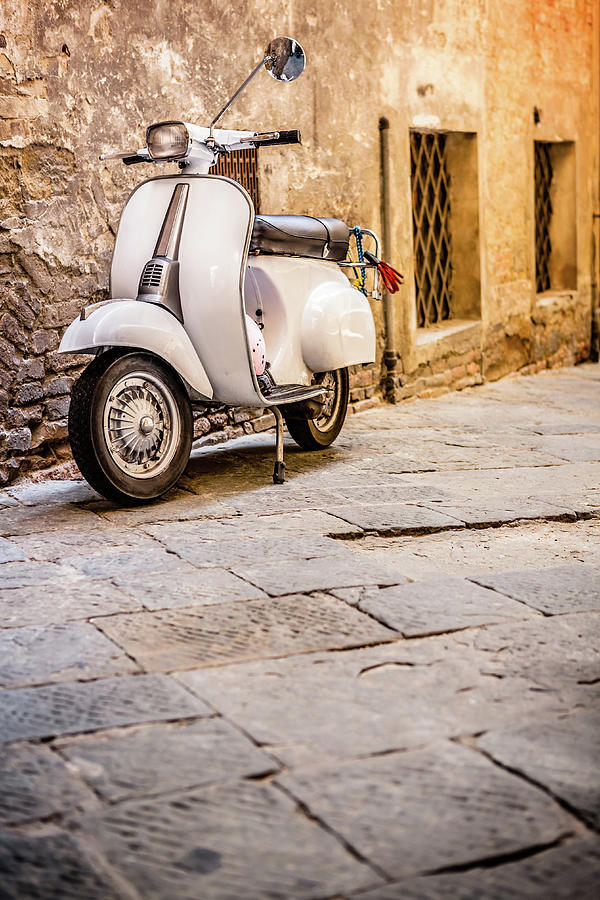 Vespa Scooter In Old Italian Alley Photograph by Giorgiomagini