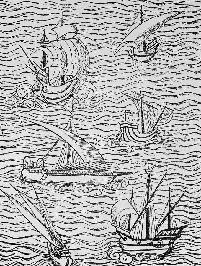 Spanish; Ship; Vessel; Boat; Galleon; Fleet Painting - Vessels Of Early Spanish Navigators From The Narrative And Critical History Of American by English School