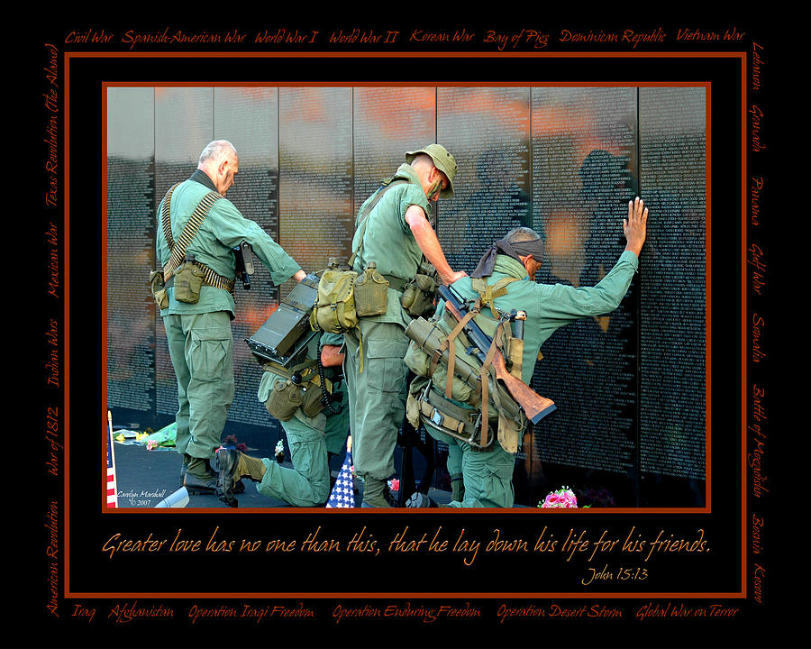 Veterans Photograph - Veterans At Vietnam Wall by Carolyn Marshall