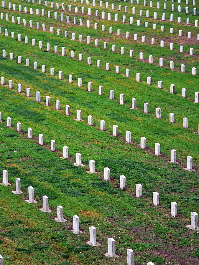 Veterans Cemetery Photograph - Veterans Cemetery Graves by Jeff Lowe