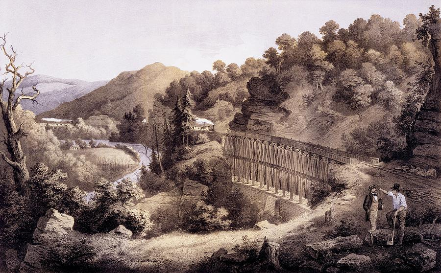 Cheat River Drawing - Viaduct On Cheat River, From Album by Edward Beyer