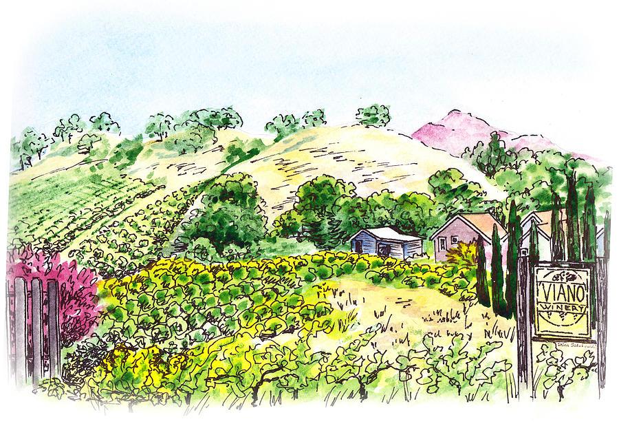 Wine Painting - Viano Winery Martinez California by Irina Sztukowski