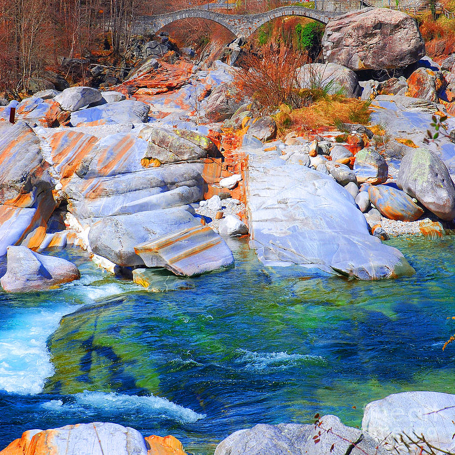 Rocks Photograph - Vibrant Colored Rocks Verzasca Valley Switzerland II by Lilianna Sokolowska