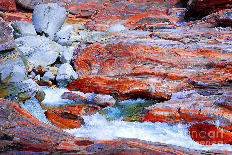 Rocks Photograph - Vibrant Colored Rocks Verzasca Valley Switzerland by Lilianna Sokolowska