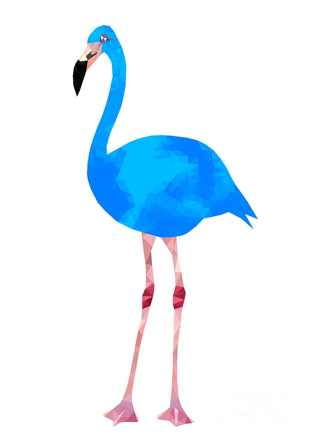 Embellishment Digital Art - Vibrant Dark Blue Flamingo Bird Low by Samantha Jo